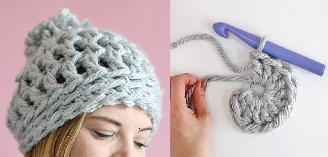 This Chunky Crochet Beanie (Free Pattern takes 30 Minutes to Make)