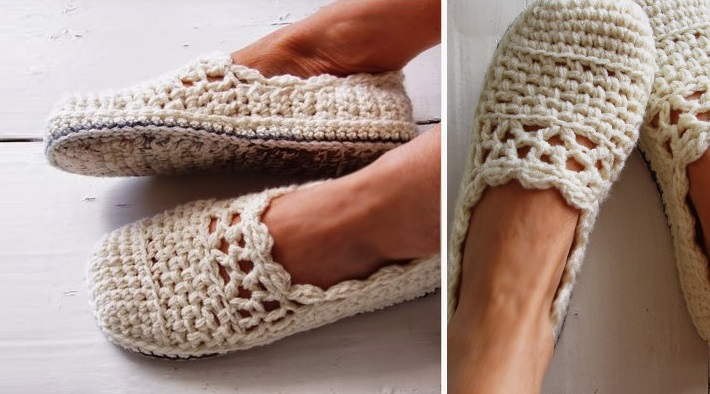 Lacy Crochet Slippers Free Pattern