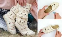 Lacy Crochet Boots Pattern For Adults (Made with Flip Flops!)