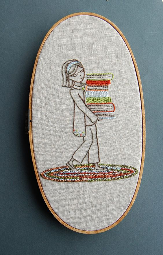 Stack of Books Embroidery