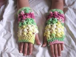 Crochet Puff Stitch Fingerless Gloves